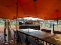 The Larapinta Semi Permanent campsites offer cafe style gas heaters to warm the dining and lounge area |  <i>Caroline Crick</i>